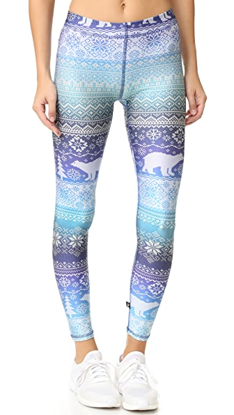 Terez Fair Isle Blue Hues Performance Leggings
