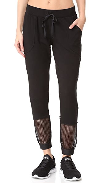 Terez Crop Fishnet Sweatpants - Black
