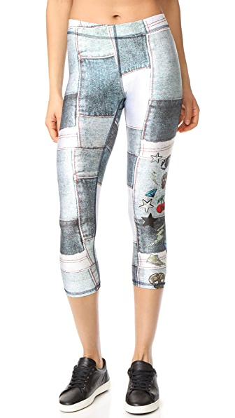 Terez Denim Sequins Patches Performance Capri Leggings