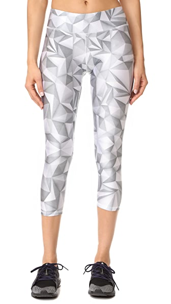 Terez White Geo Tall Band Capri Leggings - Multi