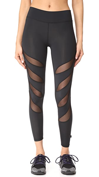 Terez Slash Mesh Ankle Leggings - Black