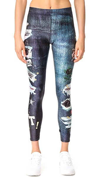 Terez Ripped Jeans Performance Leggings - Multi