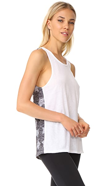 Terez Heathered Grey Stars Printed Muscle Tee - Multi