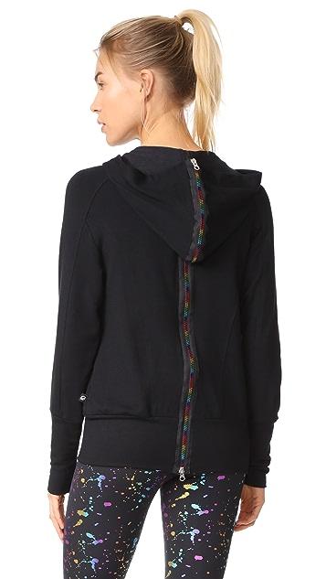 Terez Front and Back Rainbow Zip Hoodie