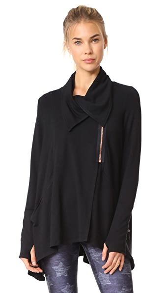 Terez Black Zip Drape Jacket - Multi