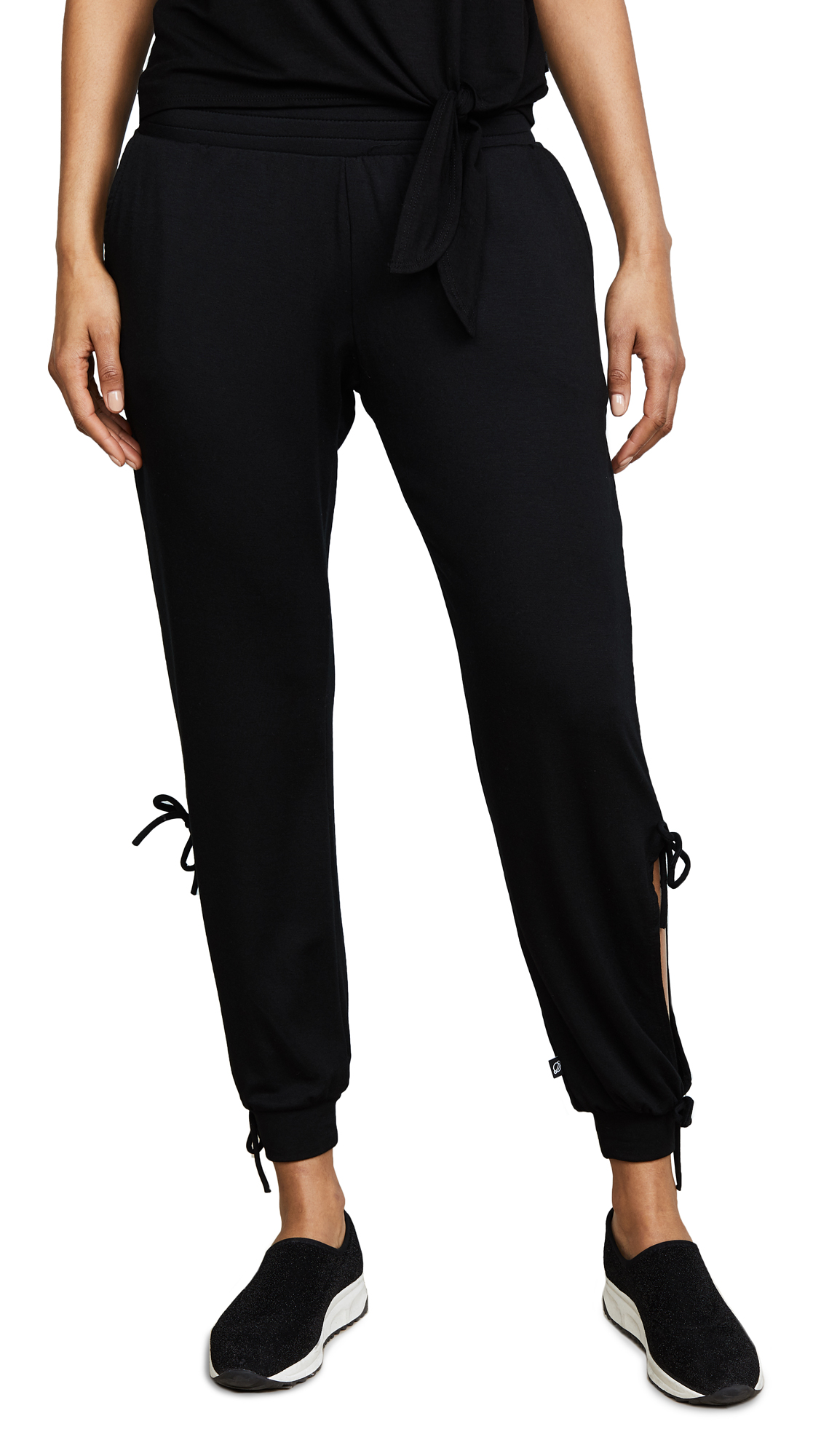 Black Open Tie Side Sweatpants