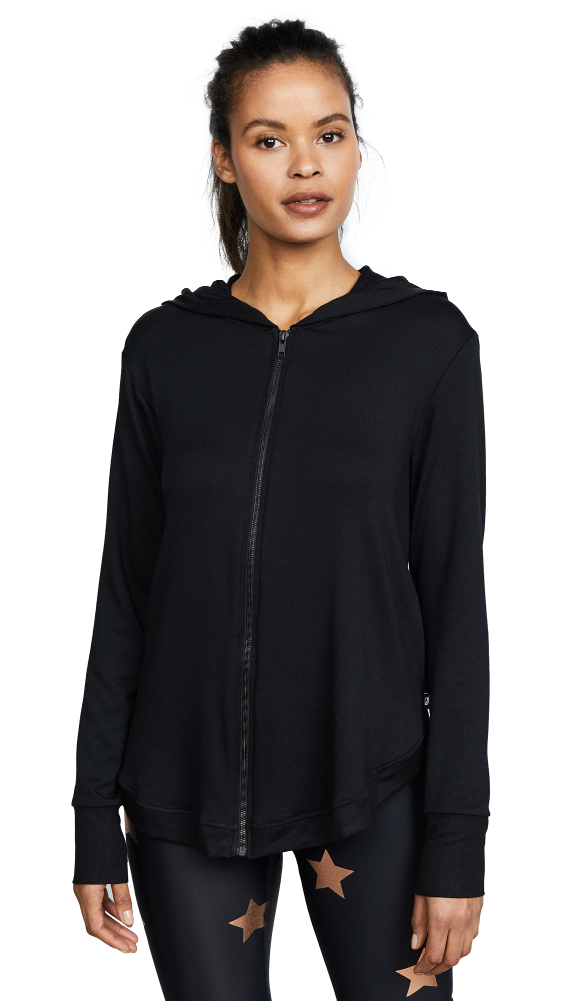 Terez Black Open Back High Low Hoodie In Black