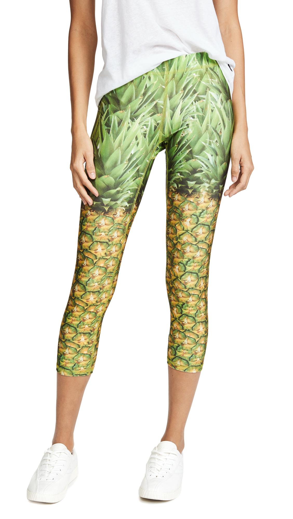 Terez Performance Capri Leggings In Natural Pineapple