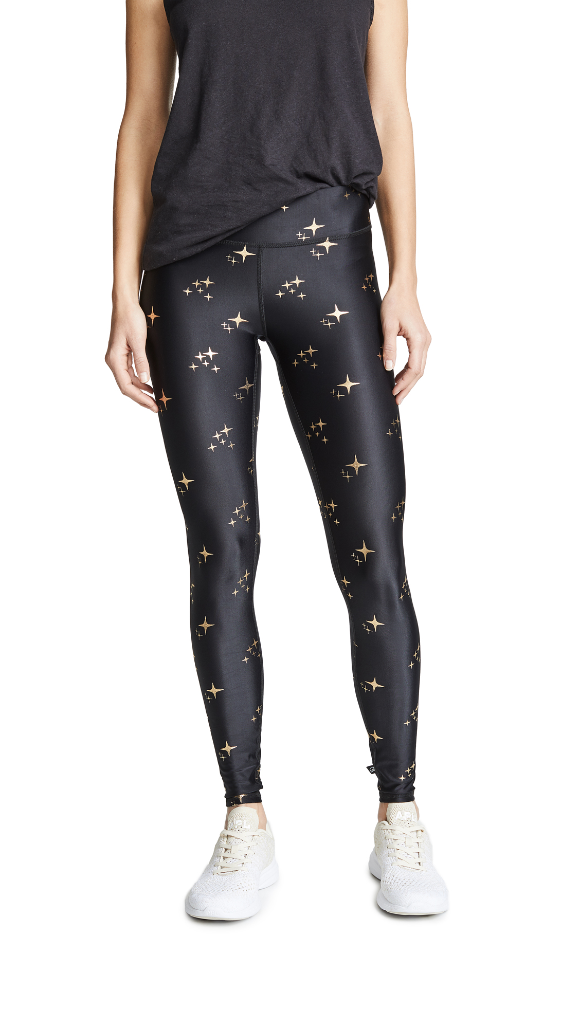 Terez Gold Sparkle Foil Tall Band Leggings