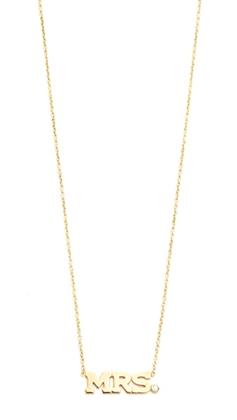 Zoe Chicco Mrs. Necklace In Gold