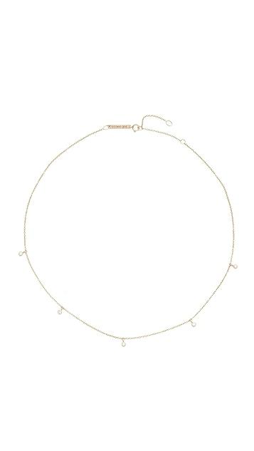 Zoe Chicco 14k Gold Five Diamond Chain Choker Necklace