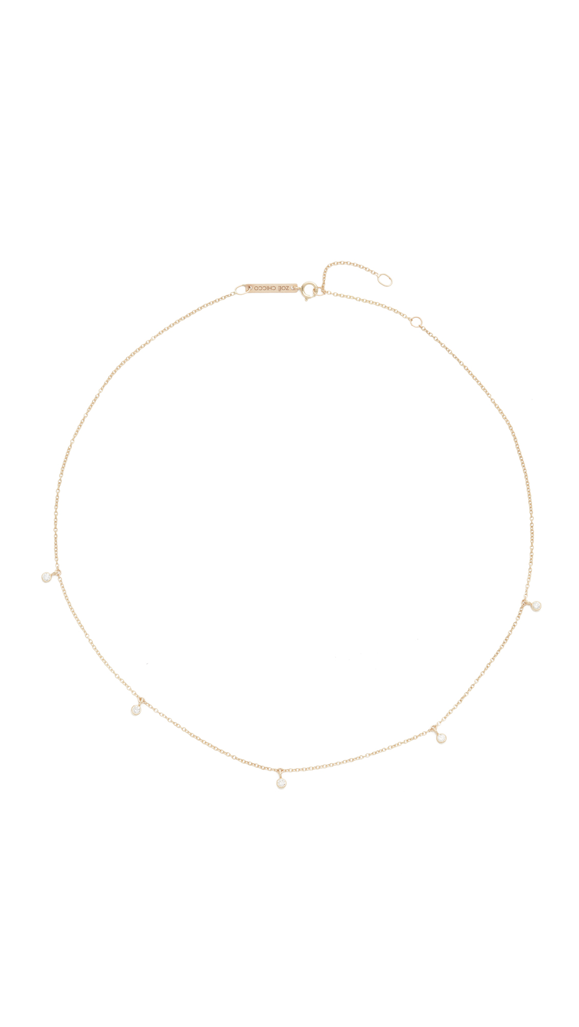 Zoë Chicco 14k Gold One Diamond Chain Choker Necklace R49tGN