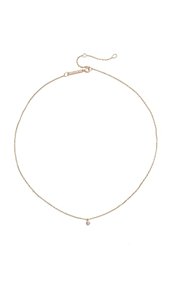 Zoe Chicco 14k Gold One Diamond Chain Choker Necklace - Gold/Clear