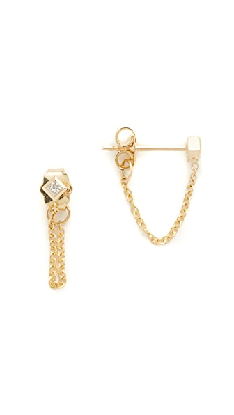 Zoe Chicco 14k Gold Princess Diamonds Chain Earrings - Gold/Clear
