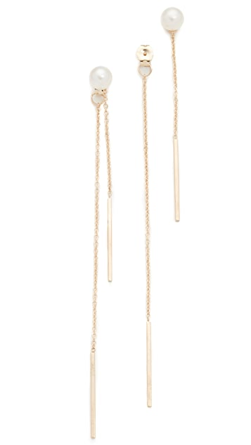 Zoe Chicco 14k Gold Freshwater Cultured Pearl Linear Drop Earrings