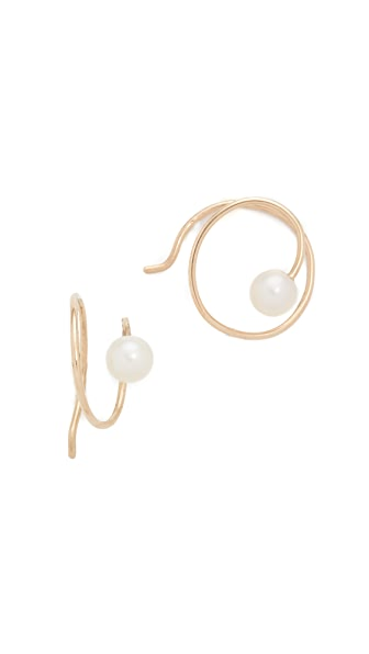 Zoe Chicco 14k Gold Freshwater Cultured Pearl Swirl Earrings - Gold/Pearl
