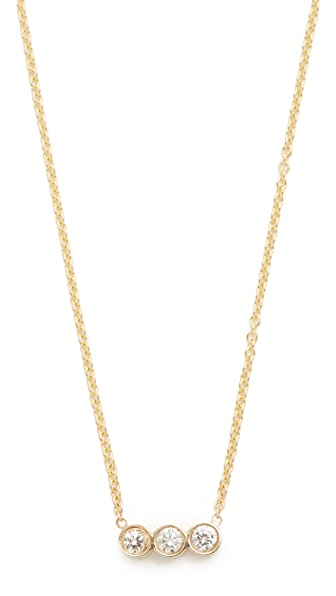 Zoe Chicco Bezel Diamonds Short Pendant Necklace