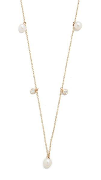 Zoe Chicco 14k Gold Freshwater Cultured Pearl Station Necklace - Gold/Pearl