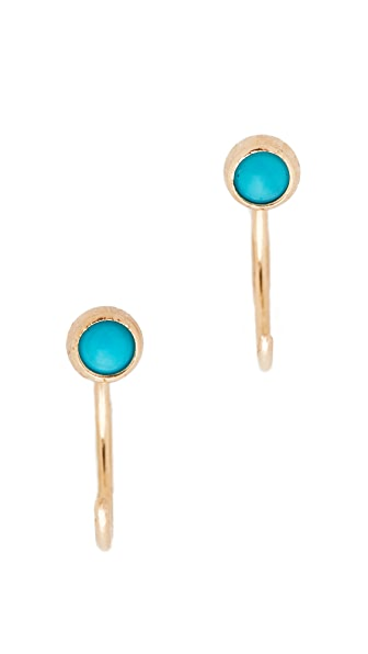 Zoe Chicco Turquoise Gemstones Backwards Huggie Earrings - Gold/Turquoise