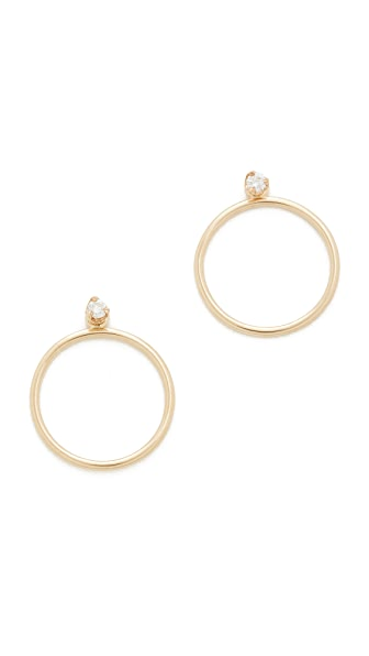 Zoe Chicco 14k Gold Paris Hoop Earrings - Gold/Clear