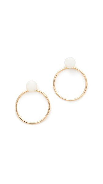 Zoe Chicco Freshwater Cultured Pearl Hoop Earrings - Gold/Pearl