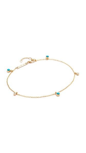Zoe Chicco Turquoise Gemstone Anklet at Shopbop