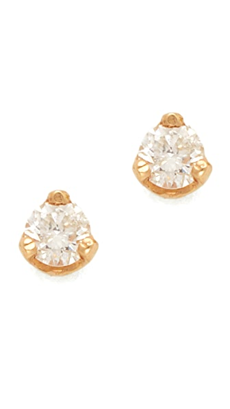Zoe Chicco Diamond Prong Stud Earrings - Gold/Clear