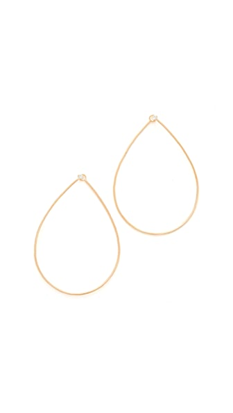 Zoe Chicco 14k Gold Tear Diamond Hoop Earrings In Yellow Gold