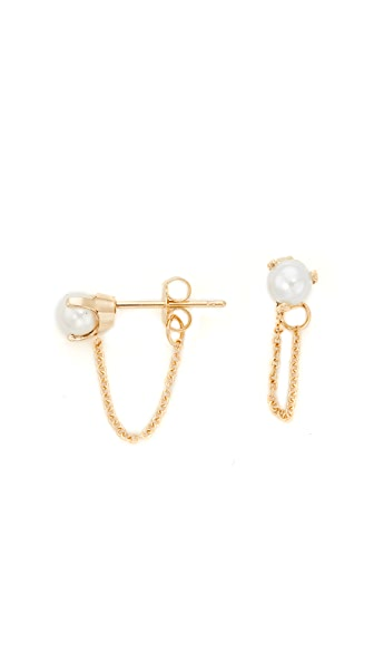 Zoe Chicco 14k Gold Prong Earrings with Freshwater Cultured Pearls In Yellow Gold