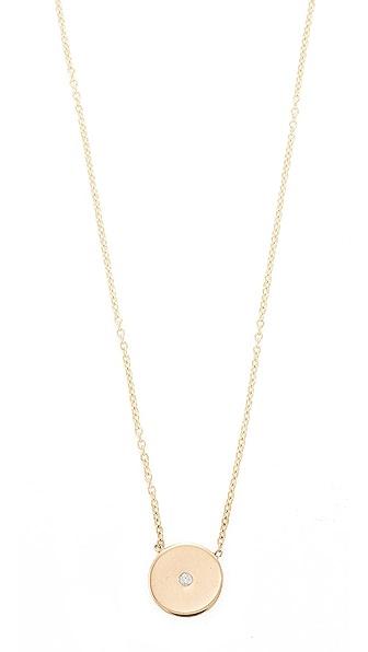 Zoe Chicco 14k Gold Small Disc Diamond Necklace