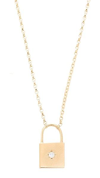 Zoe Chicco 14k Gold Padlock Diamond Necklace