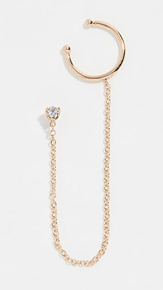 Zoë Chicco 14K GOLD DIAMOND STUD WITH WIRE EAR CUFF
