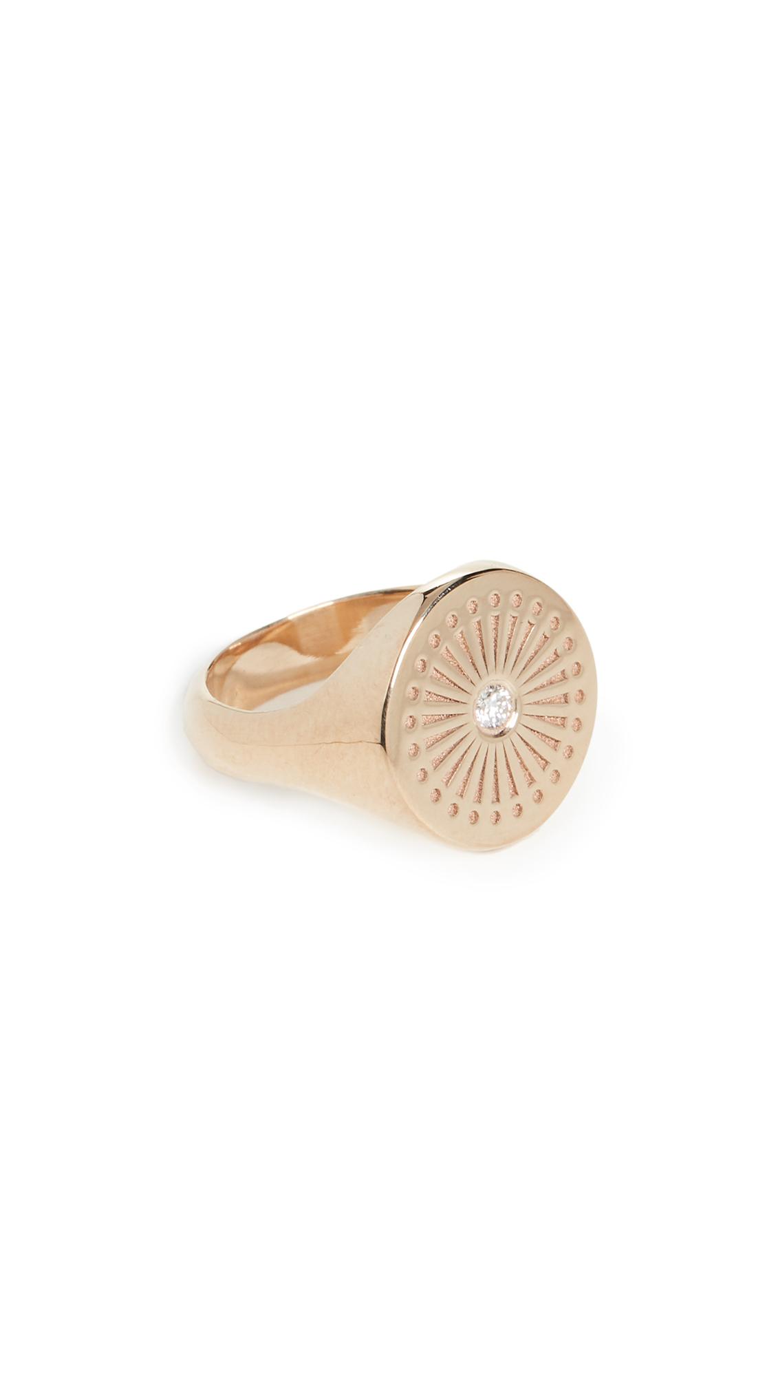 ZoË Chicco 14K Gold Sunbeam Signet Ring In Yellow