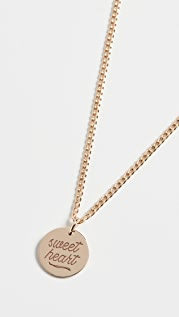 Zoe Chicco 14k Gold Small Disc Sweet Heart Necklace