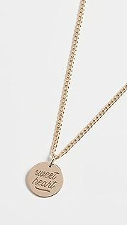 Zoe Chicco Колье Sweet Heart с небольшим диском из 14-каратного золота