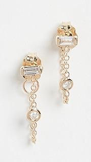 Zoe Chicco 14k Gold White Diamond Baguette Studs