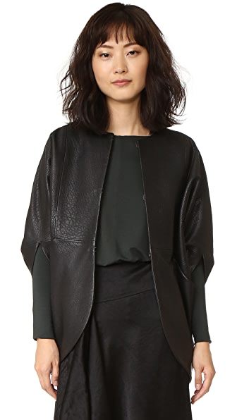 Zero + Maria Cornejo Leather Rio Shrug - Black