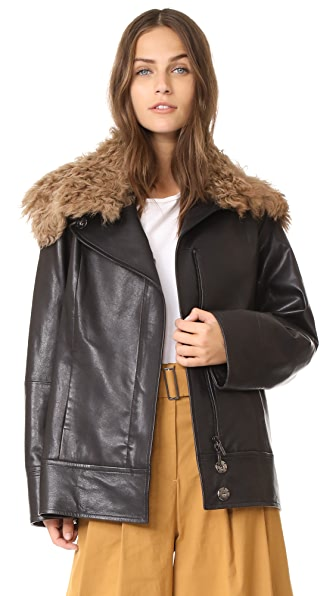 Zero + Maria Cornejo Leather Jacket with Shearling Collar