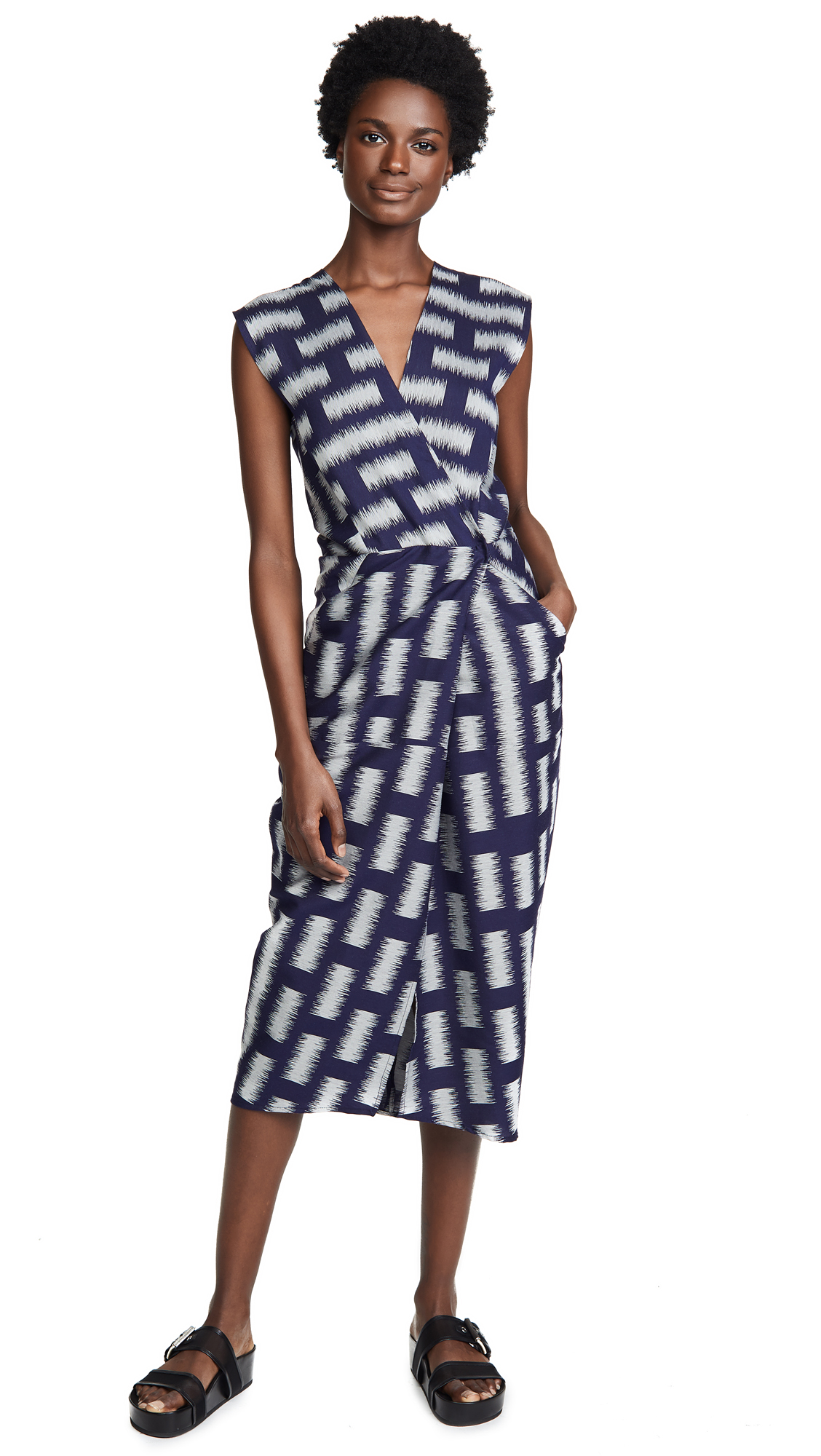 ZERO + MARIA CORNEJO Kaia V-Neck Sleeveless Bicolor Jacquard Woven Wrap-Style Dress in Navy