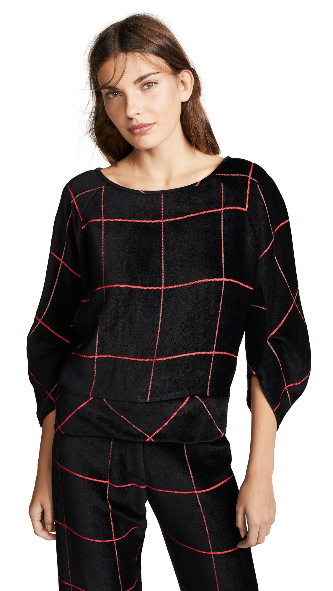 Zero + Maria Cornejo Bea Sweatshirt In Black/Rouge