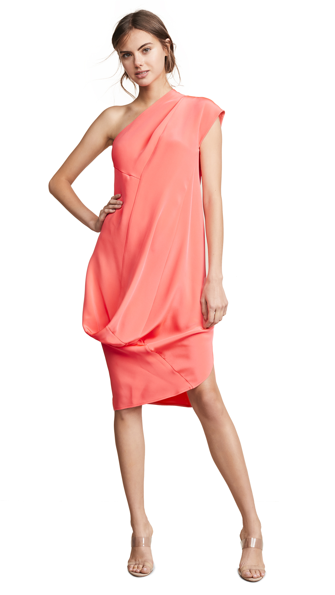 Zero + Maria Cornejo One Shoulder Loop Dress - Coral