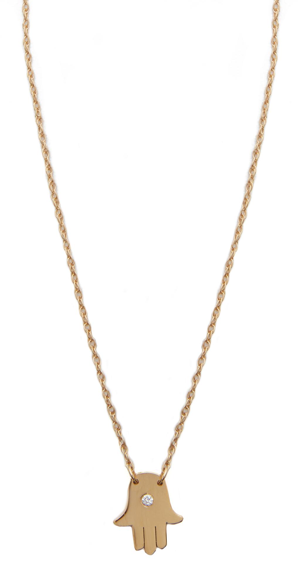 Mini Hamsa Diamond Necklace Jennifer Zeuner Jewelry