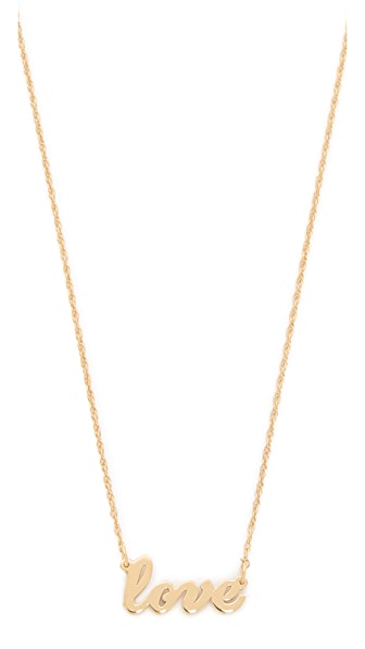 Jennifer Zeuner Jewelry Cursive LOVE Necklace - Gold