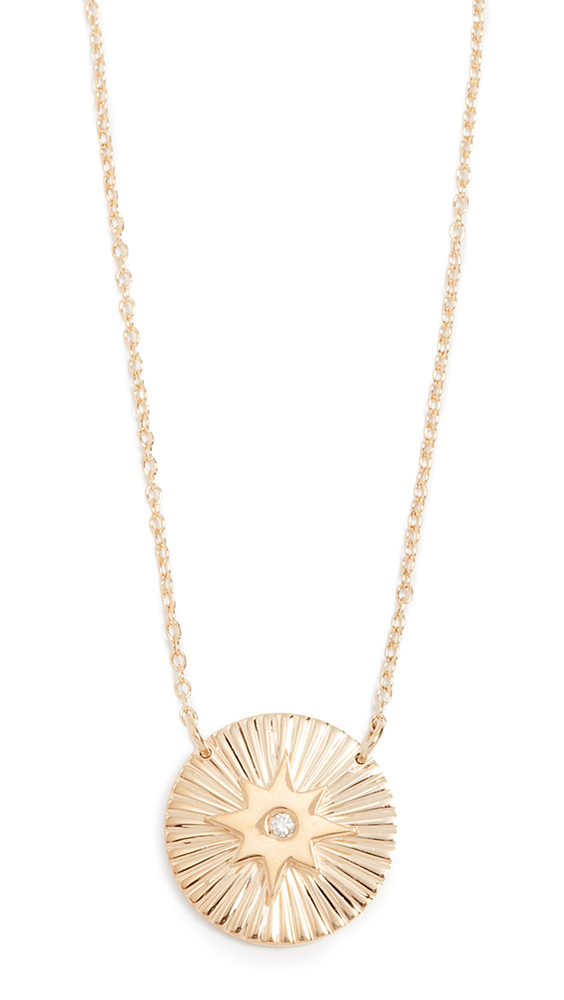 JENNIFER ZEUNER JEWELRY Iris Mini Gia Necklace in Yellow Gold