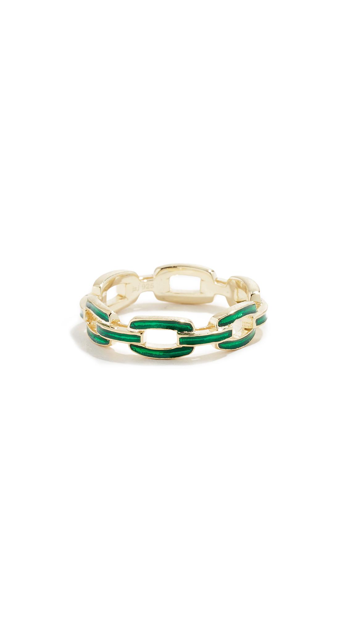 JENNIFER ZEUNER JEWELRY Carmine Enamel Ring in Gold/Green