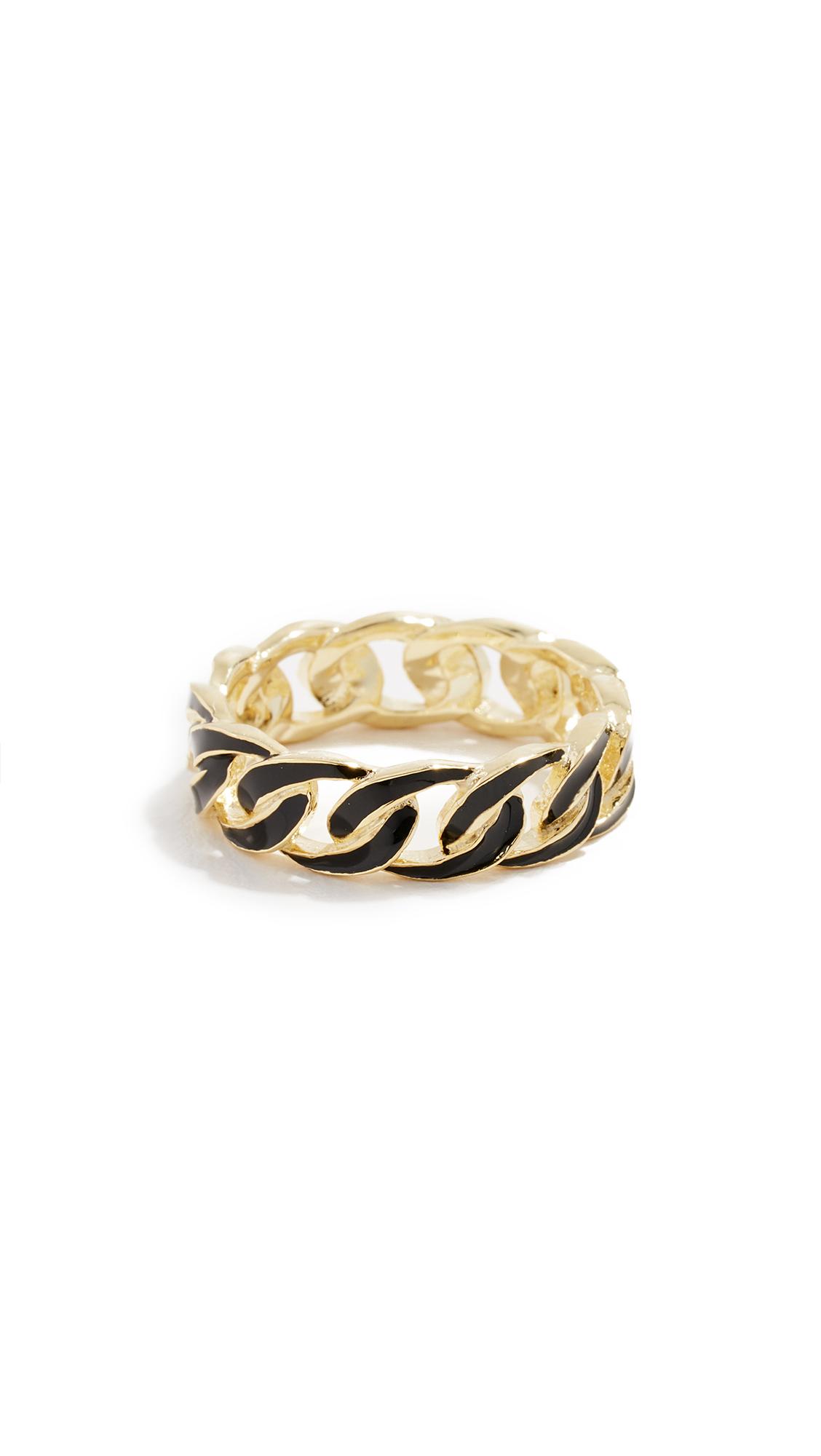 JENNIFER ZEUNER JEWELRY Charly Enamel Ring in Gold/Black