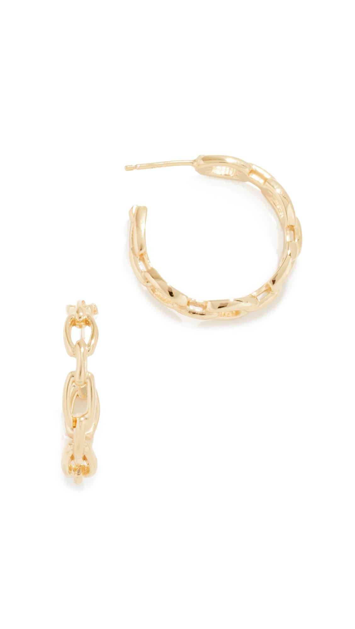 JENNIFER ZEUNER JEWELRY Carmine Hoop Earrings in Yellow Gold