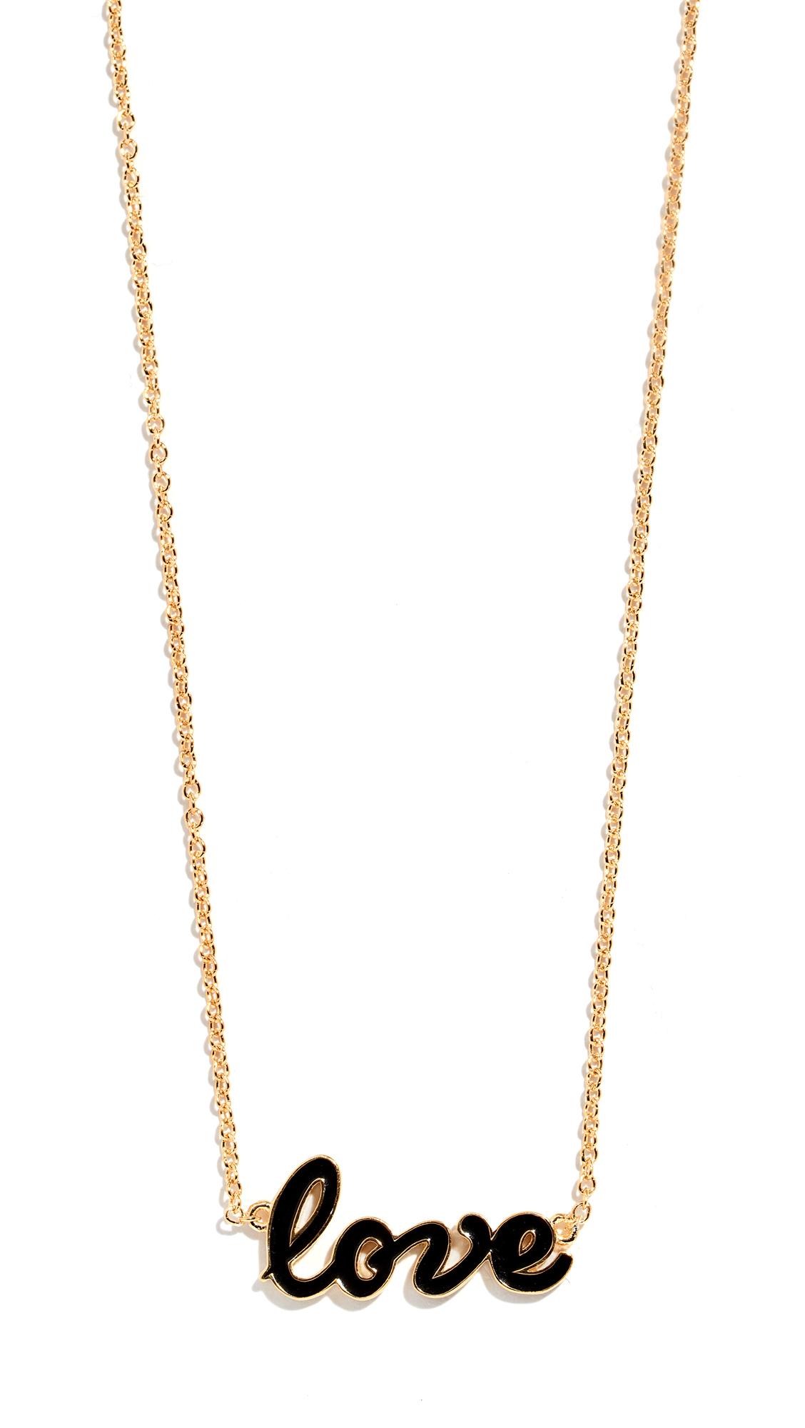 JENNIFER ZEUNER JEWELRY Addison Mini Enamel Necklace in Yellow Gold/Black