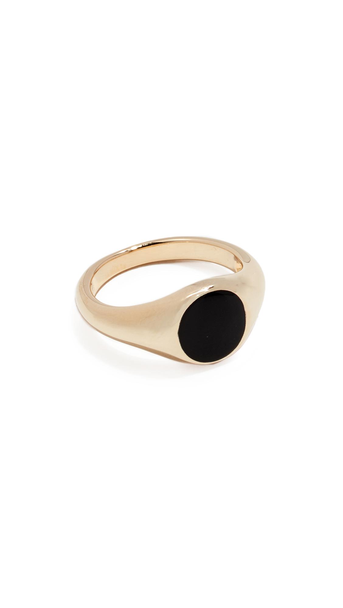 JENNIFER ZEUNER JEWELRY Small Cameron Enamel Ring in Yellow Gold/Black