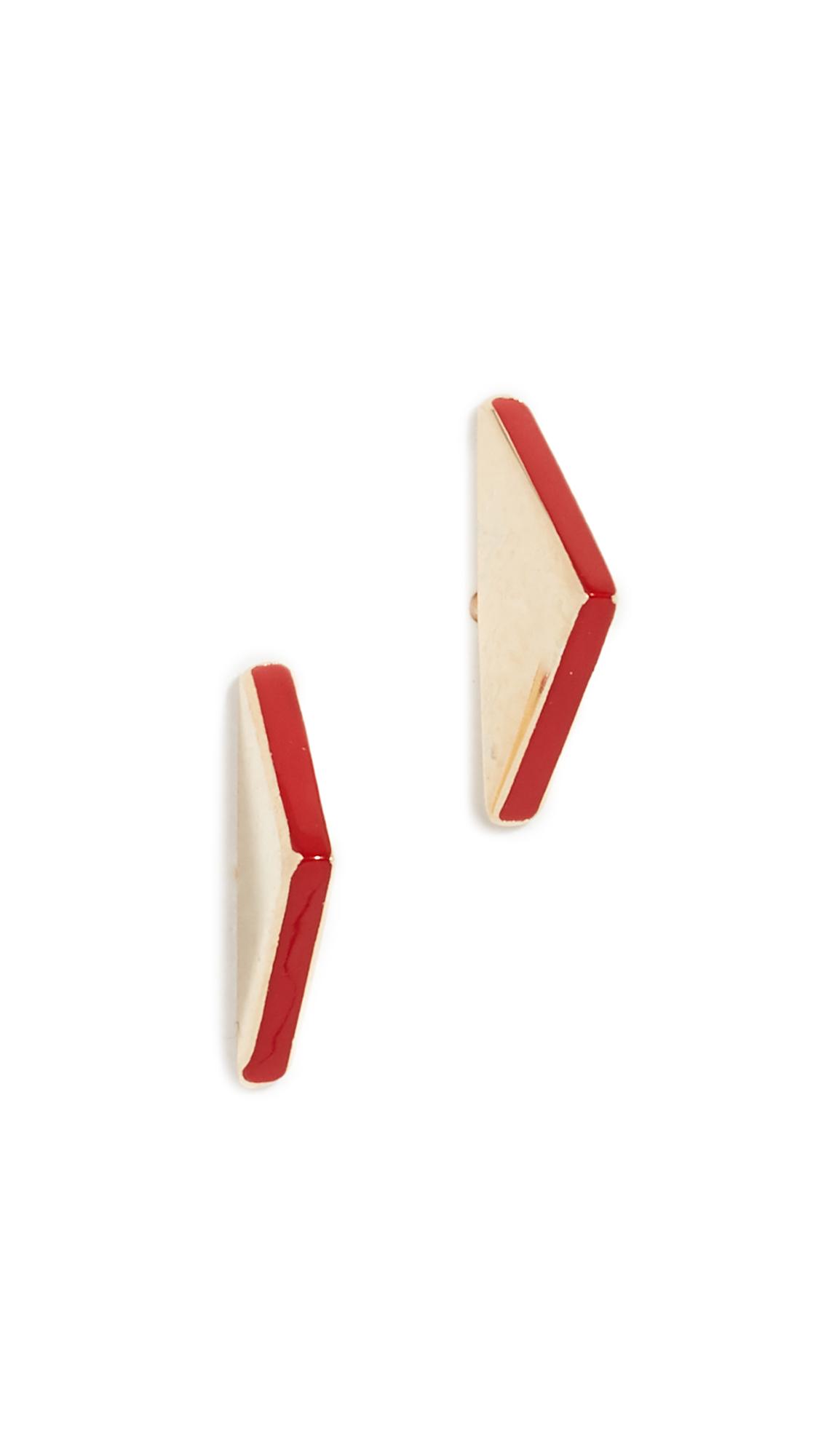 JENNIFER ZEUNER JEWELRY Trisha Enamel Earrings in Yellow Gold/Red